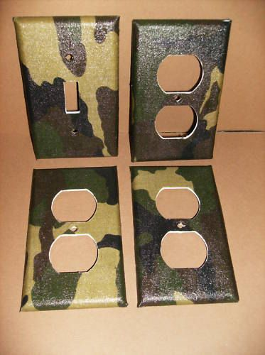 Camo Light Switch Plate Camoflauge Single Cover Hunting Decor Man Cave Army Boy Room
