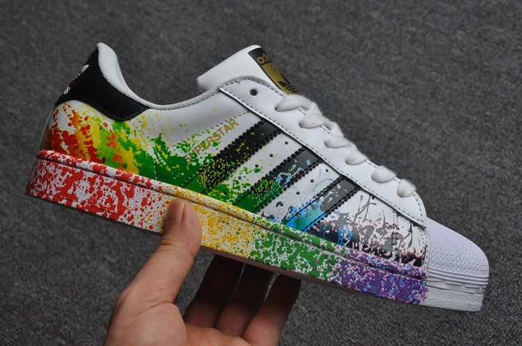 promo code 6eafb 4e7ef Adidas Originals Superstar Pride Pack Shoes D70351 Lgbt Rainbow Paint