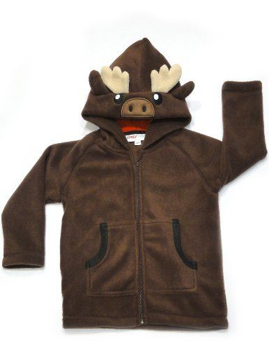 Crazyheads Kids Moose Hoodie, Small 100% Polyester. Polar Fleece has anti pill (more durable, soft to touch). Stretchable fabric to accommodate your growing child. Easy cleaning: machine wash cold, tumble dry low. Fleece zipper tab to avoid pinching or scratching.  #Crazyheads_Kids #Apparel