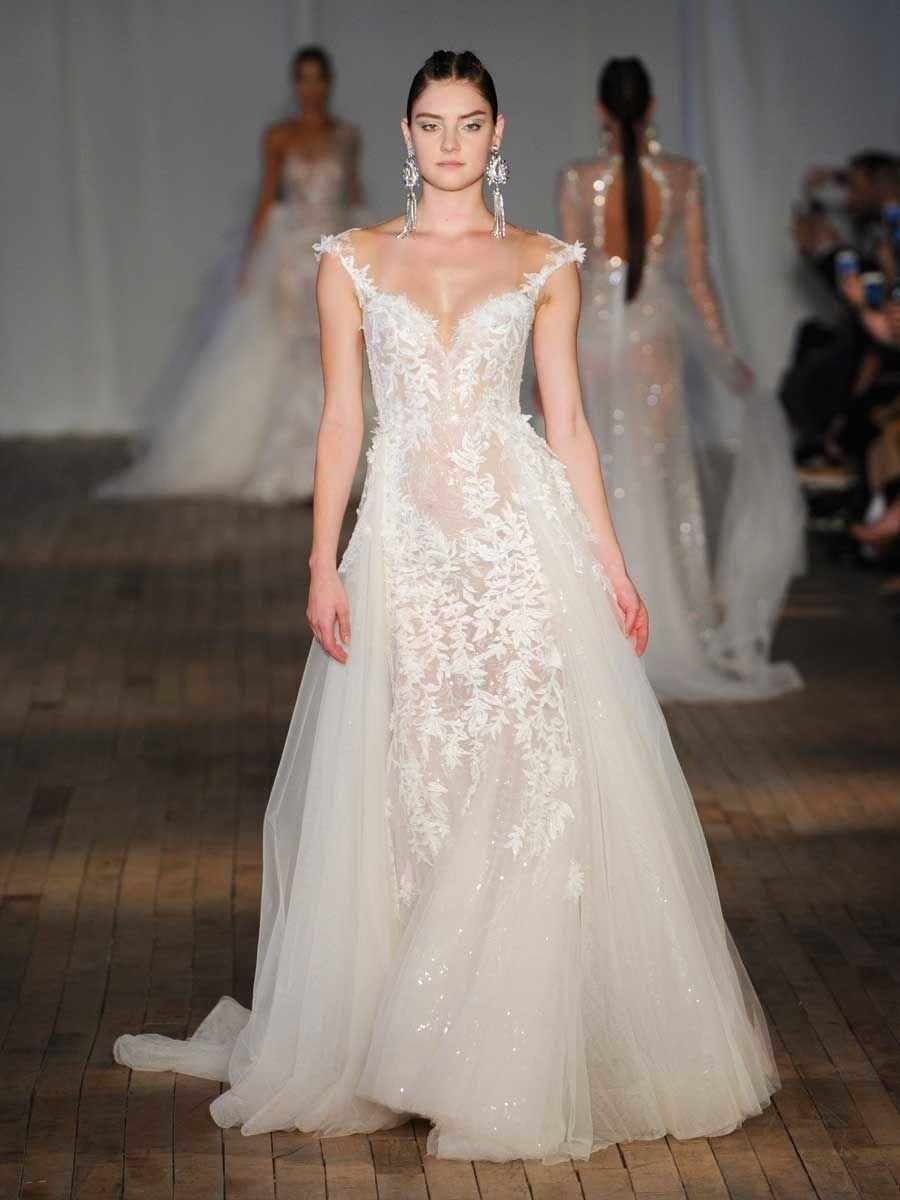 7e859892e3cf Berta Spring Summer 2019 Collection sheer sequin wedding dress with  sweetheart neckline and tulle train