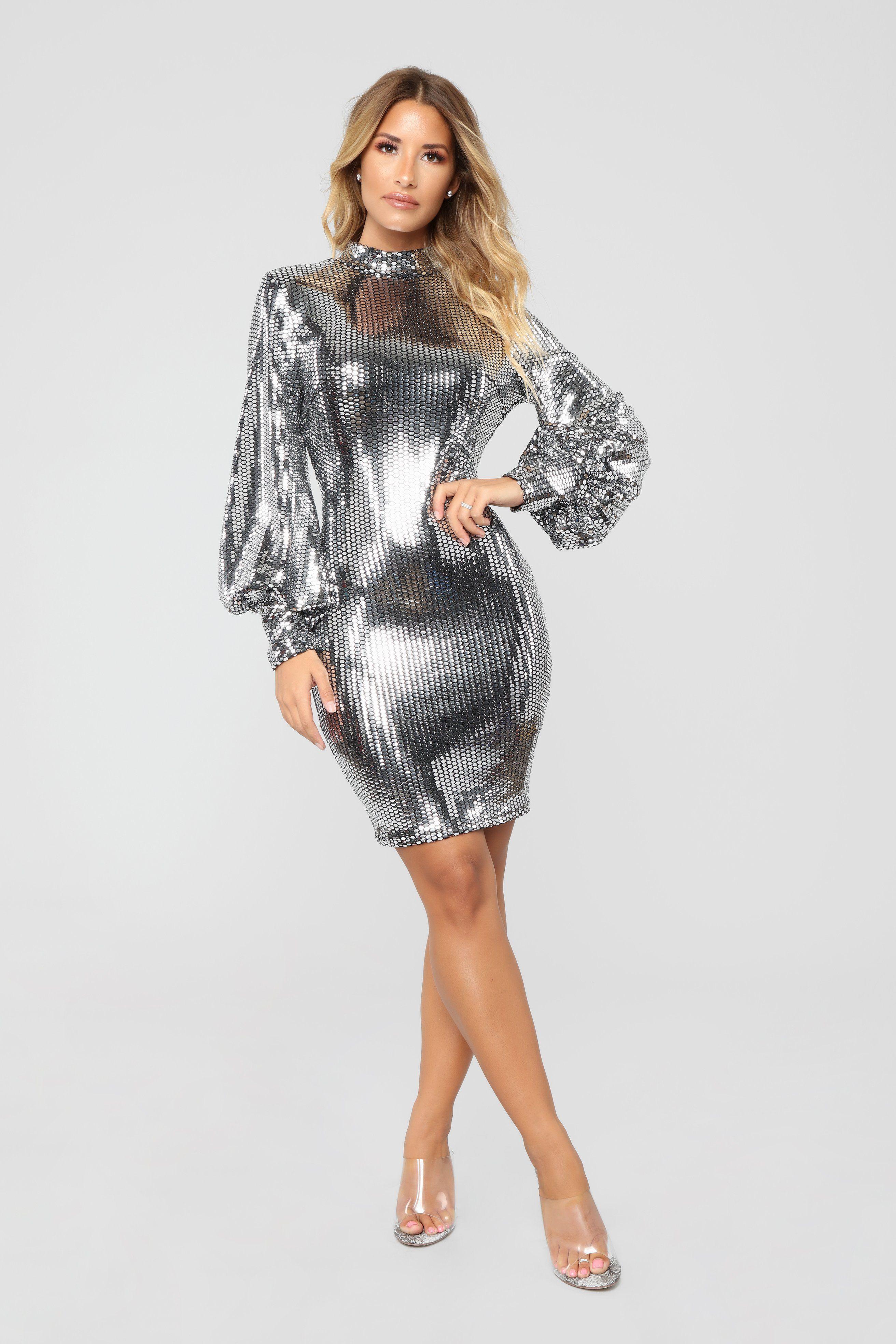 9320a3effb5 Under The Disco Ball Sequin Dress - Silver