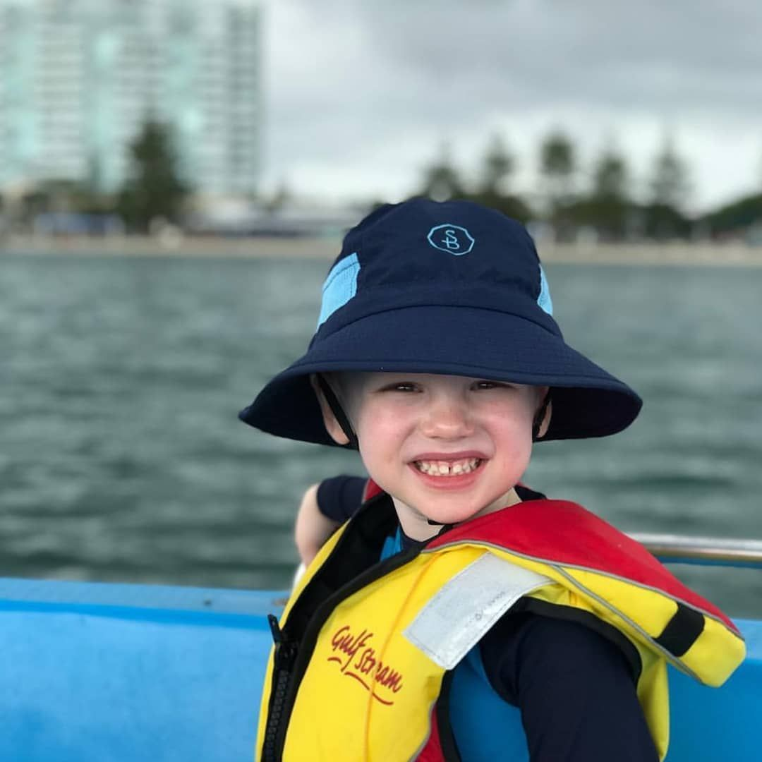 A Gorgeous Little Boy Who Loves Wearing His Solbari Hat What A Smile Photo Credit To His Lovely Mama The Life Of Cb Solbari Sunh Hats Sun Hats How To Wear