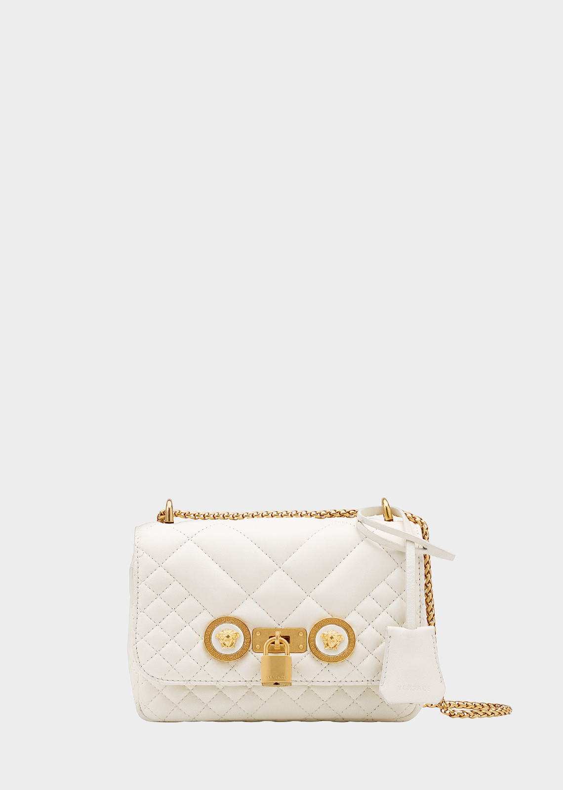 f8cca77080d0 VERSACE BAGS MODEL FOR VALENTINE S DAY – SMALL QUILTED ICON SHOULDER ...