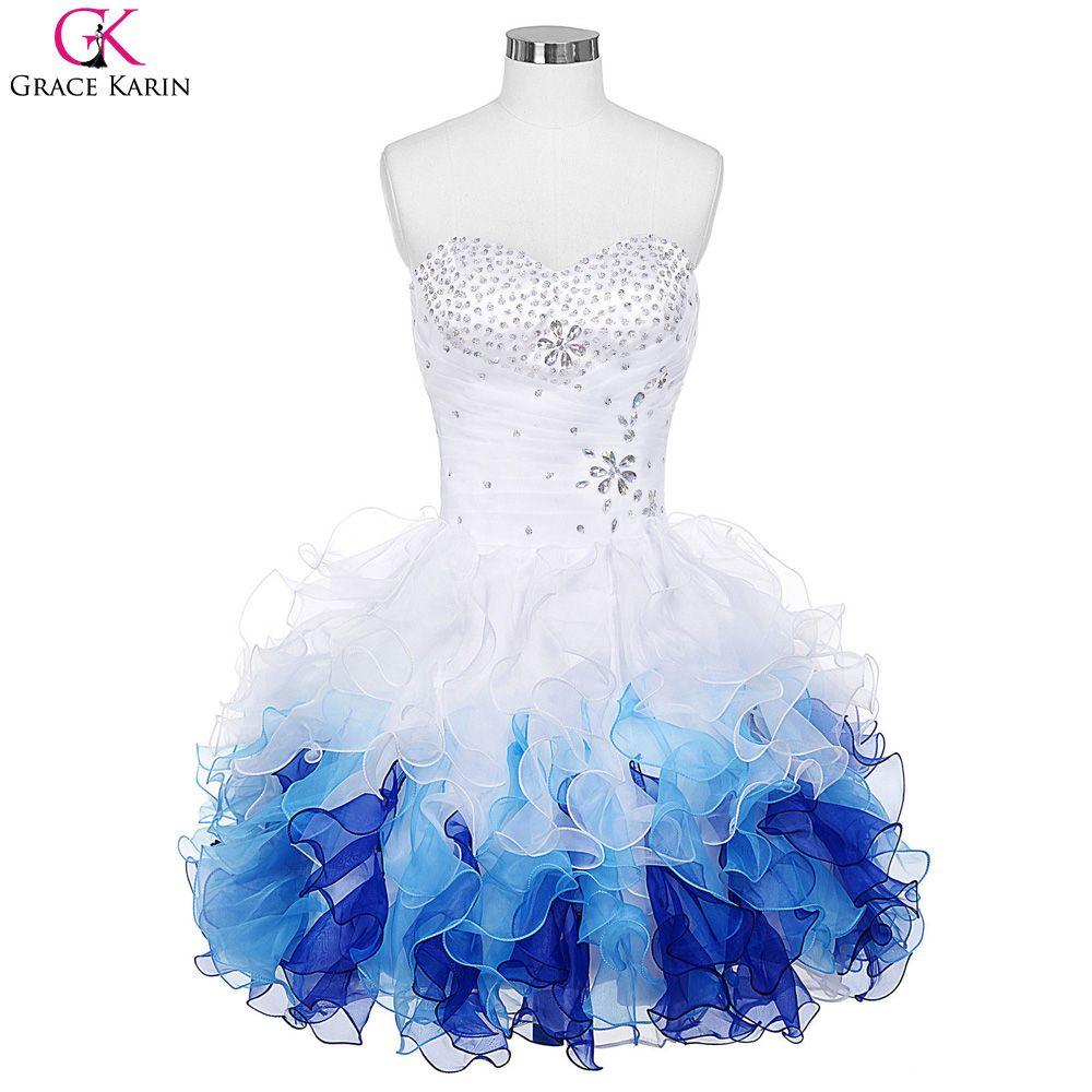 Short Prom Dresses 2017 Grace Karin Robe De Soiree Organza Blue ...