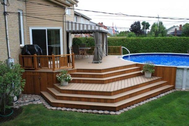 Above Ground Pool With Patio And Backyard Decks Ideas Creative