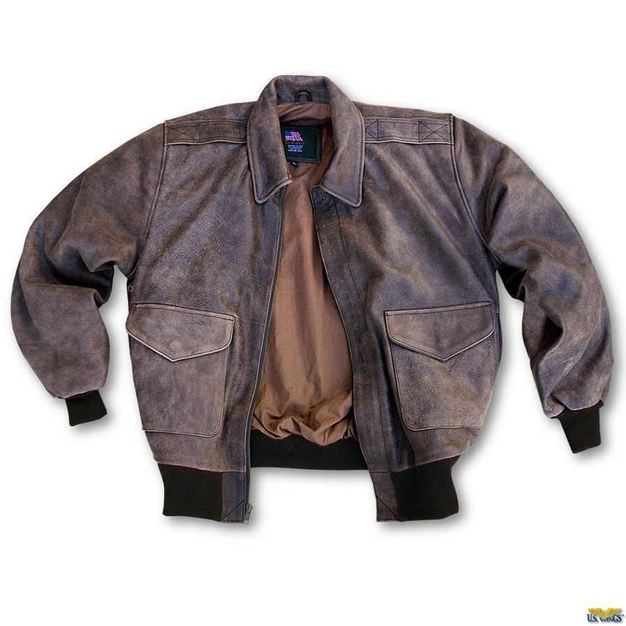 Our US Wings Vintage Leather Bomber Jacket Modern A-2 features ...