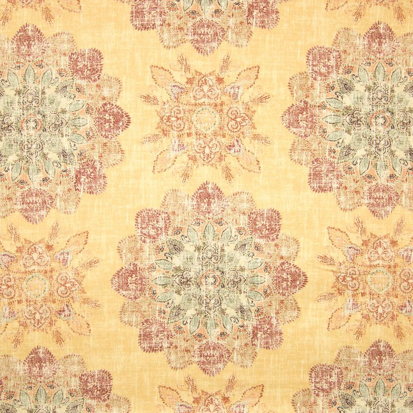 Curry Yellow And Red Medallion Cotton Upholstery Fabric