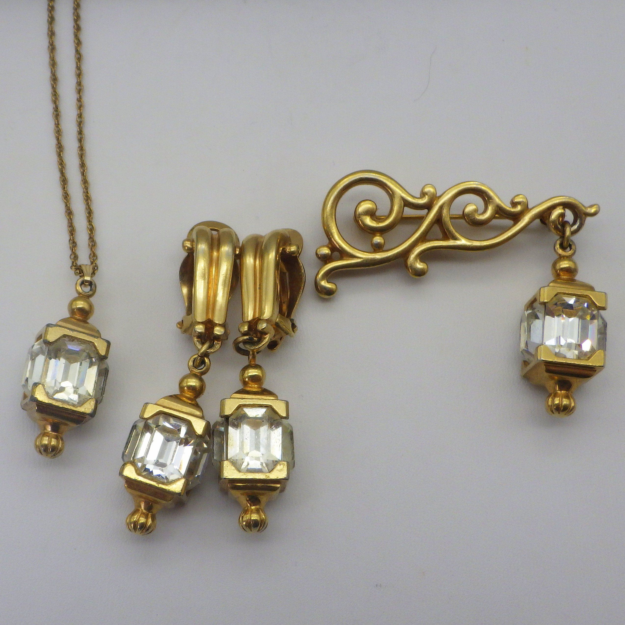 Vintage pennino jewelry set earrings brooch pendant necklace