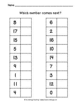 kindergarten what number comes next worksheet school pinterest worksheets kindergarten. Black Bedroom Furniture Sets. Home Design Ideas