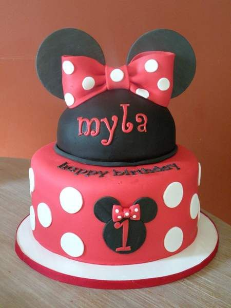 Awesome Minnie Mouse 1St Birthday Cake Designs Minnie Mouse Birthday Personalised Birthday Cards Paralily Jamesorg