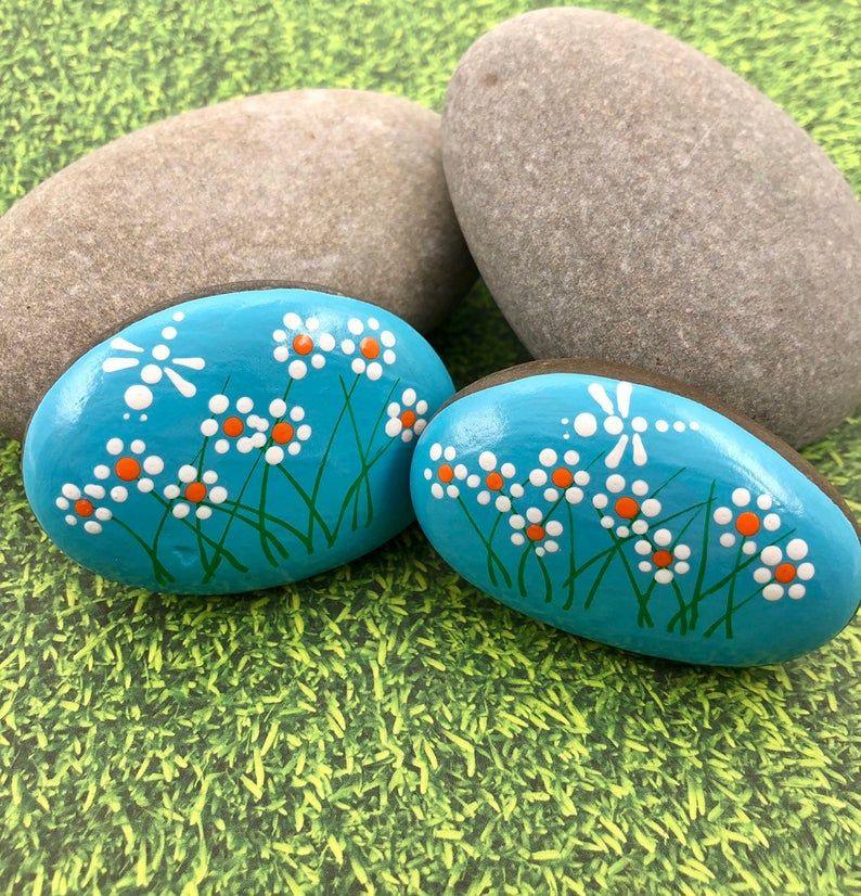 Daisies Painted Rocks, Set of 2 Daisies and Dragon