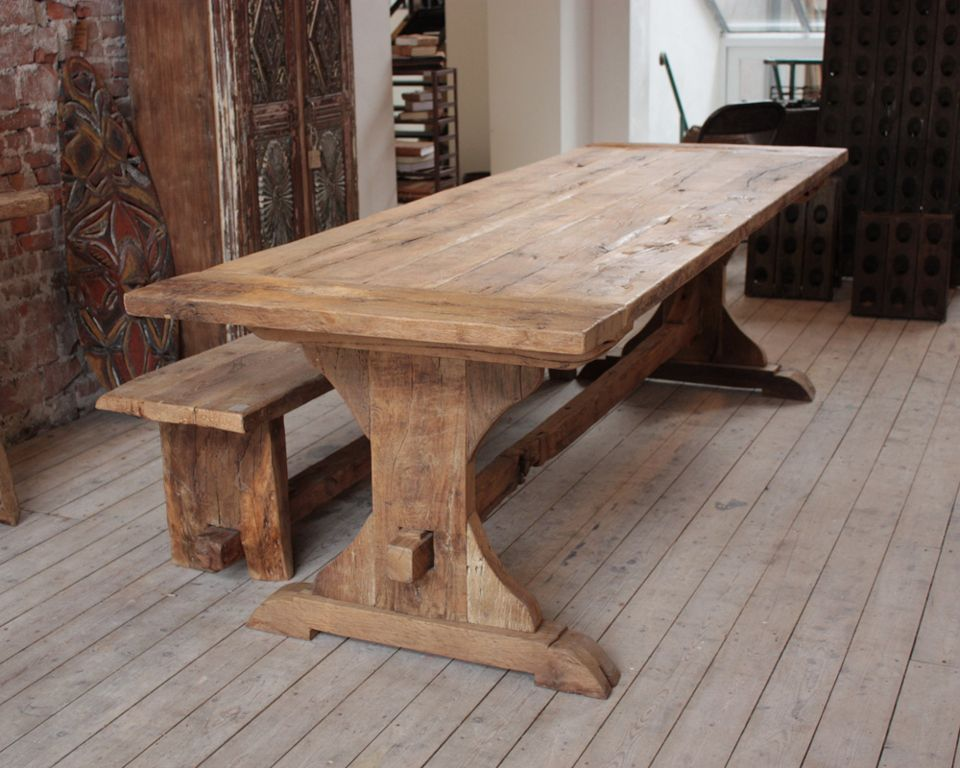 Furniture:Vintage Wooden Dining Table Designed With Restle ...