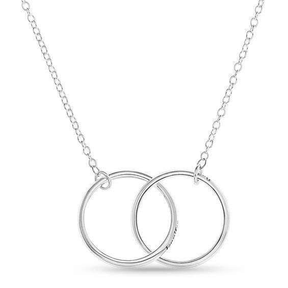 Zales Couples 22.0mm Round Disc Necklace in Sterling Silver (2 Lines) a2Px1JWEw