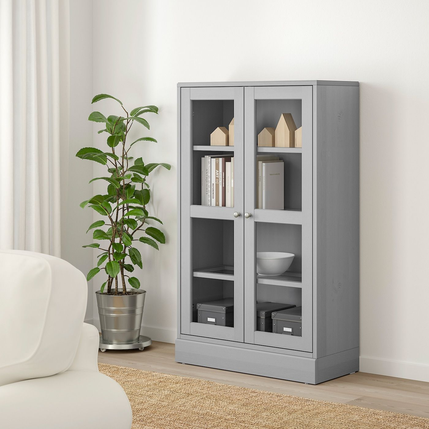HAVSTA Glassdoor with base gray, clear glass