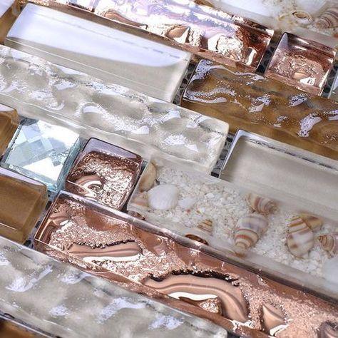 interlocking glass mosaic tile brown rose gold 13 beveled