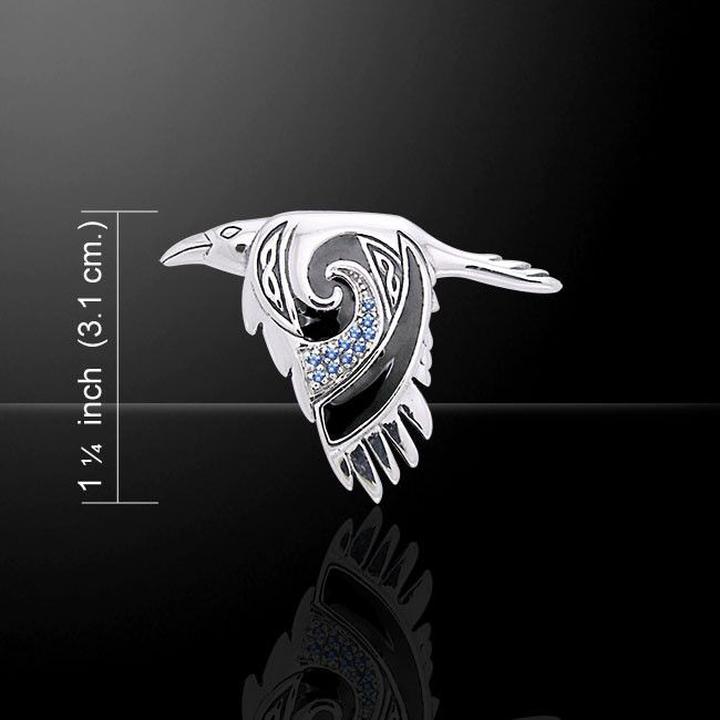 Celtic Raven Pendant in .925 Sterling Silver - Morrigan Crow Raven in Flight Amulet with gemstone choice