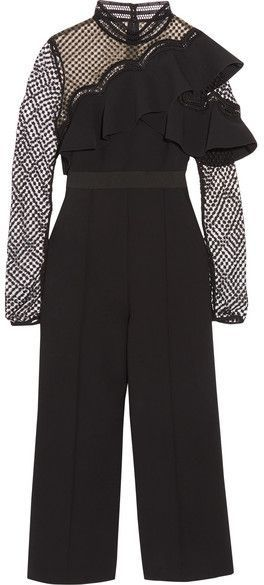 d57e5341ceaf Self-Portrait Cropped Ruffled Guipure Lace And Crepe Jumpsuit - Black