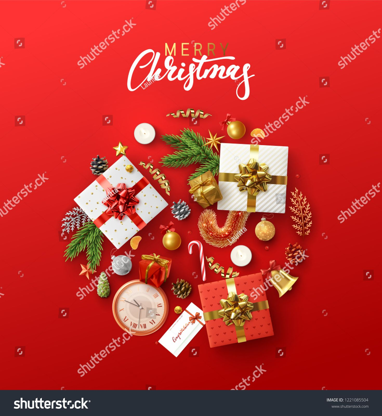 Christmas Greeting Card With Holiday Objects Merry Christmas And