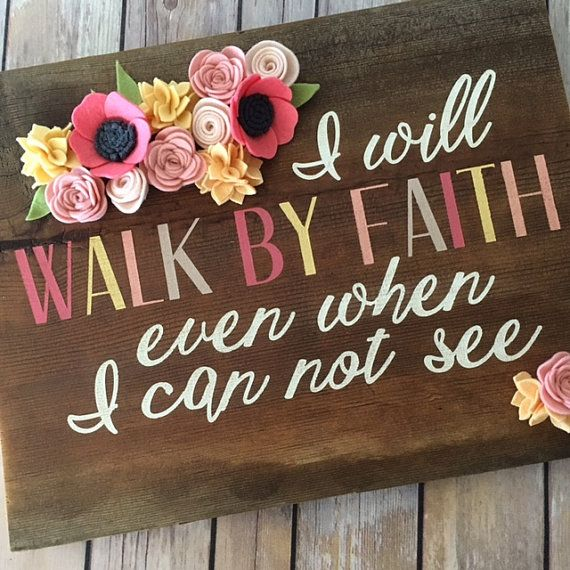 Faith Wooden Sign  Rustic Decor  Reclaimed Wood  Home Decor  Customizable  Religious Sign  Felt Flowers