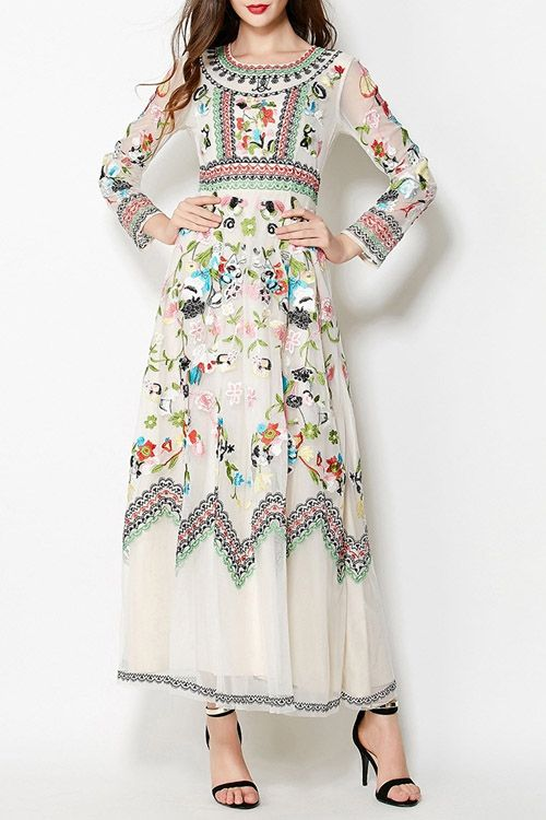 Floral Embroidery Evening Dress Off White Embroidery Fashion Evening Dresses Boho Fashion
