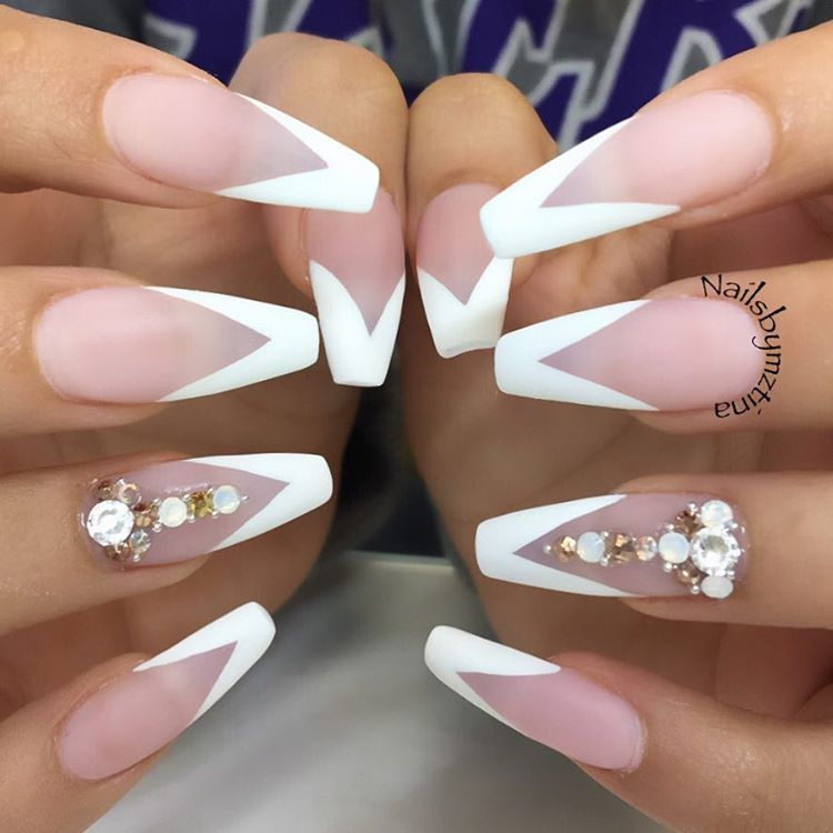 White Matte V French Long Coffin Nails #nail #nailart ...