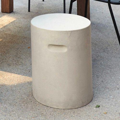 Tabouret de jardin en ciment effet béton beige EVORA