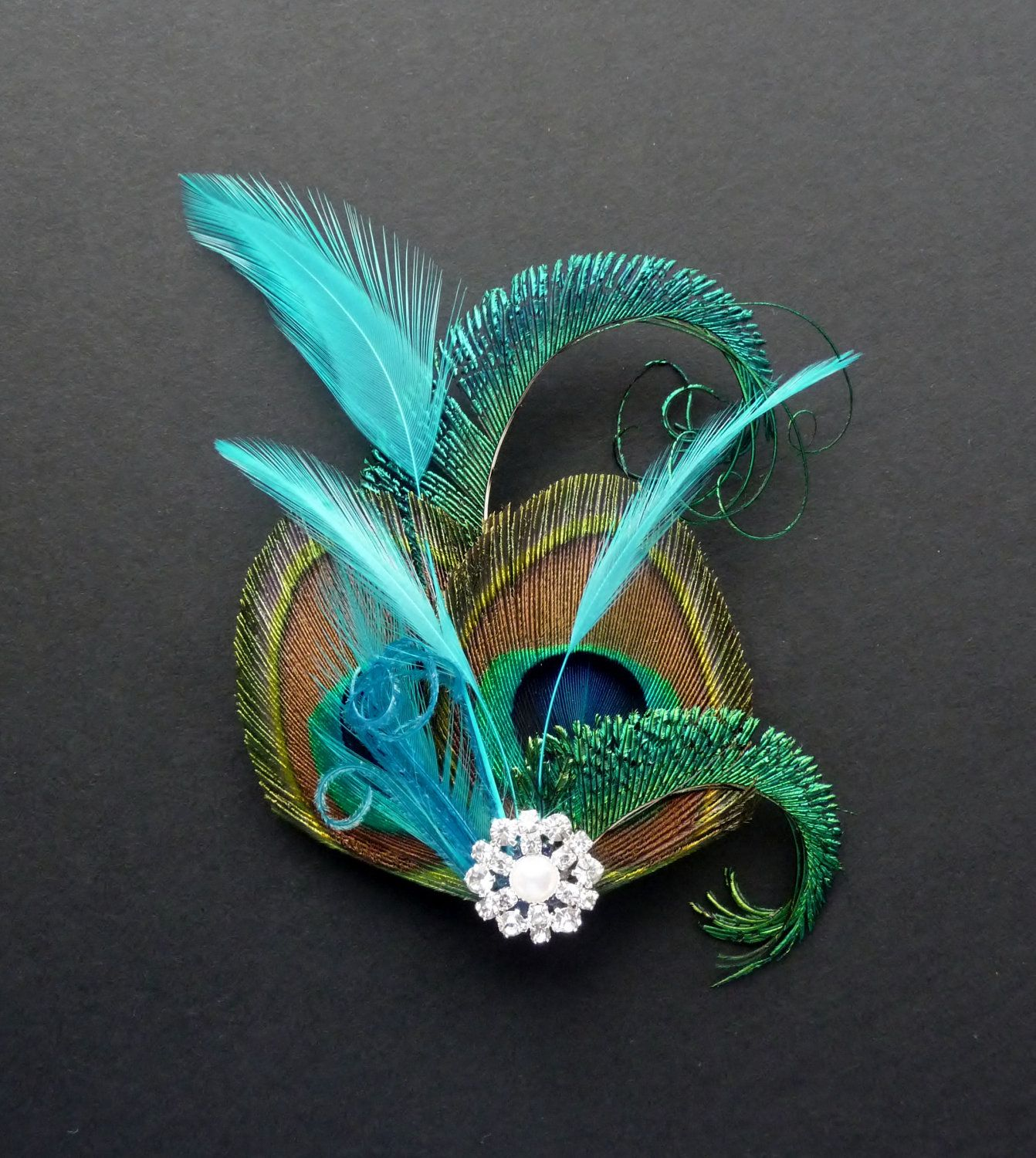 Peacock Feather Hair Clip Turquoise Blue Fascinator 1920's