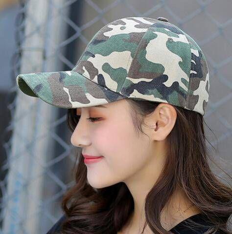 3a371637d61 Green camo baseball cap for teenage girls adjustable sun spring wear ...