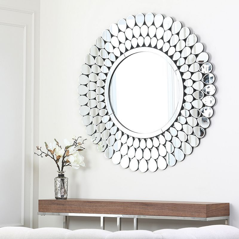 Belle Maison 3 Pc Sunburst Wall Mirror Set Silver Wall Mirror Round Wall Mirror Mirror Wall