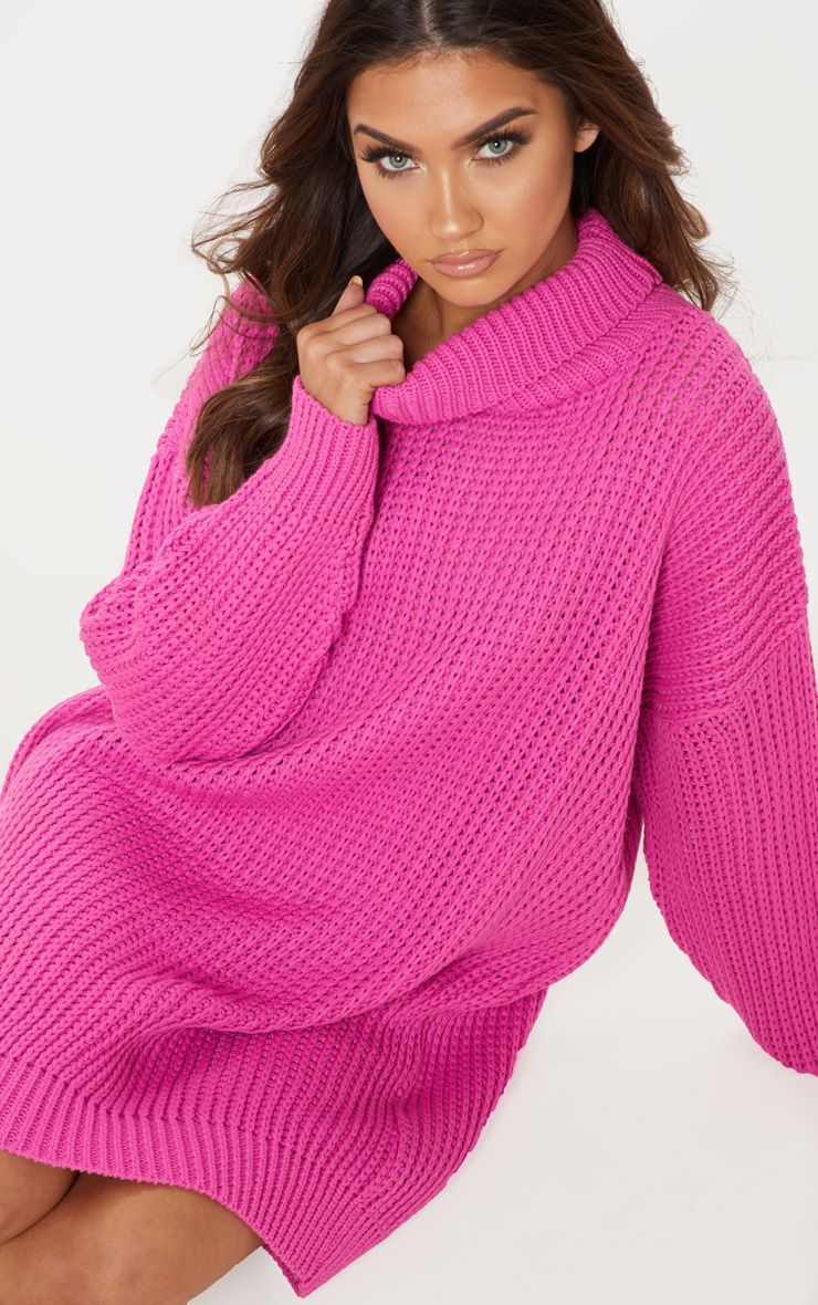 11d91dceb106 Celebrity Style | PrettyLittleThing | Hot Pink Oversized High Neck Knitted  Jumper Dress