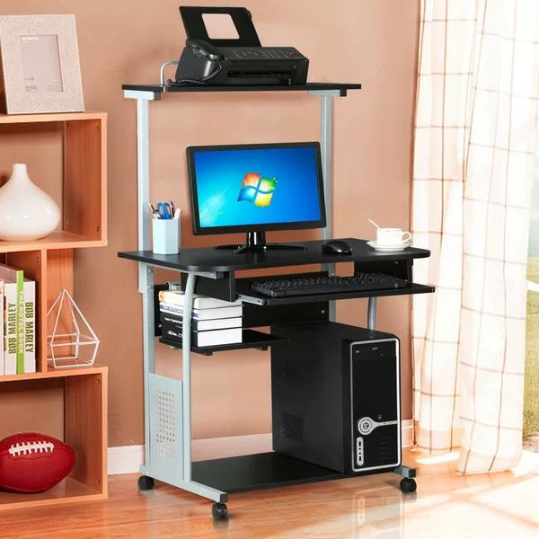 Symple Stuff Rosita Desk Reviews Wayfair Small Computer Desk Printer Shelf Desks For Small Spaces