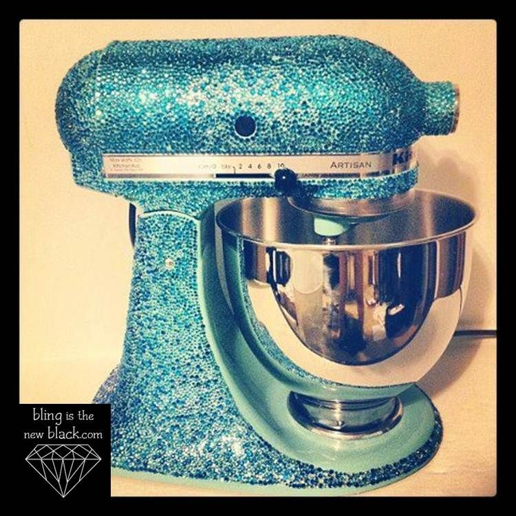 Custom Bling Kitchen Aid Mixer I Made! Blingisthenewblack.com #bling #mixer