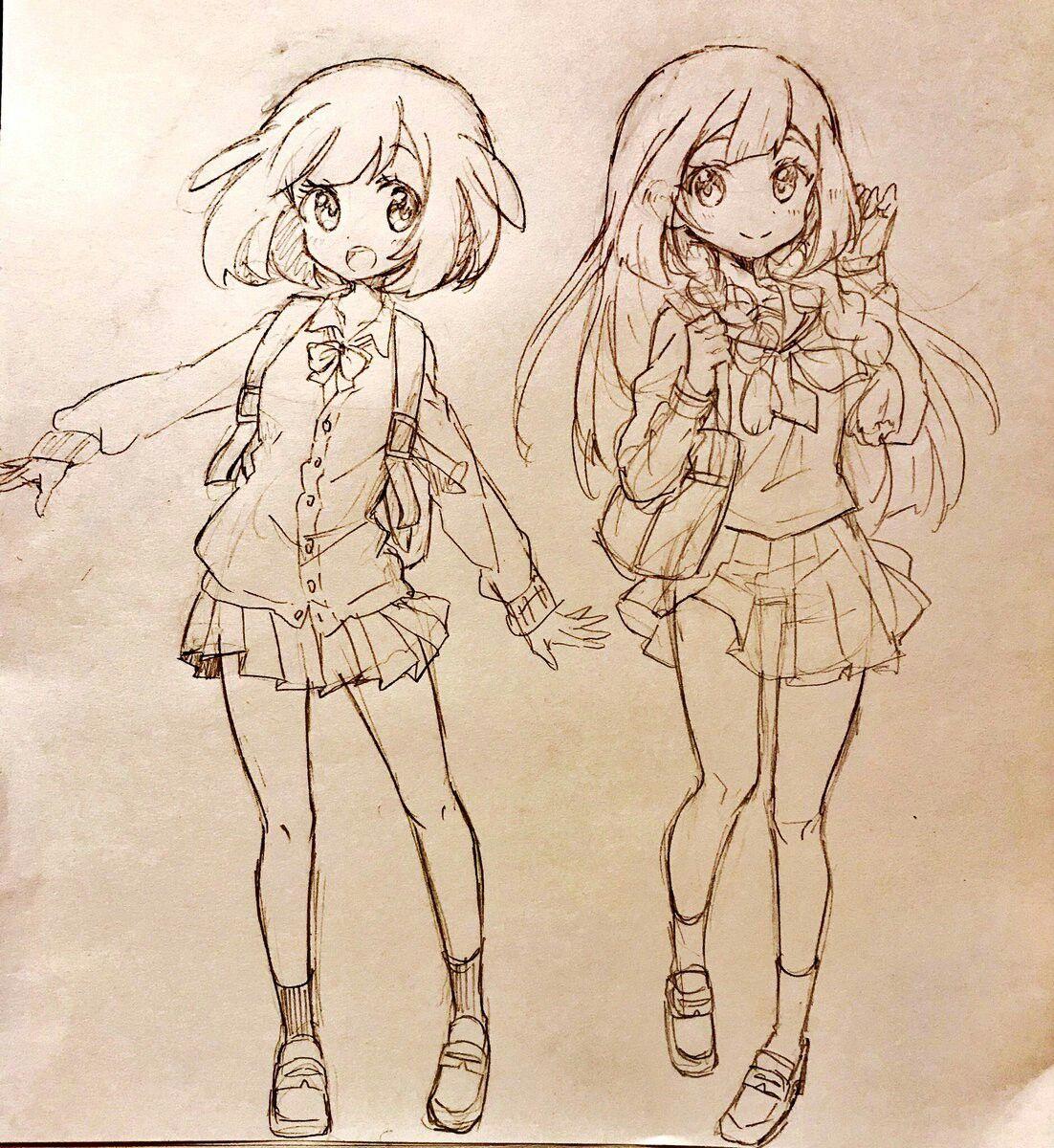 Moon And Lillie School Uniform Girl Pokemon Lune Dessin Naruto Dessin