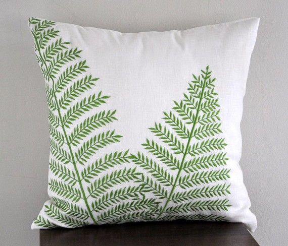Fern Pillow Cover, Cream Linen Green Leaf Embroidery, Home Decor, Floral Throw Pillow, Leaf ...