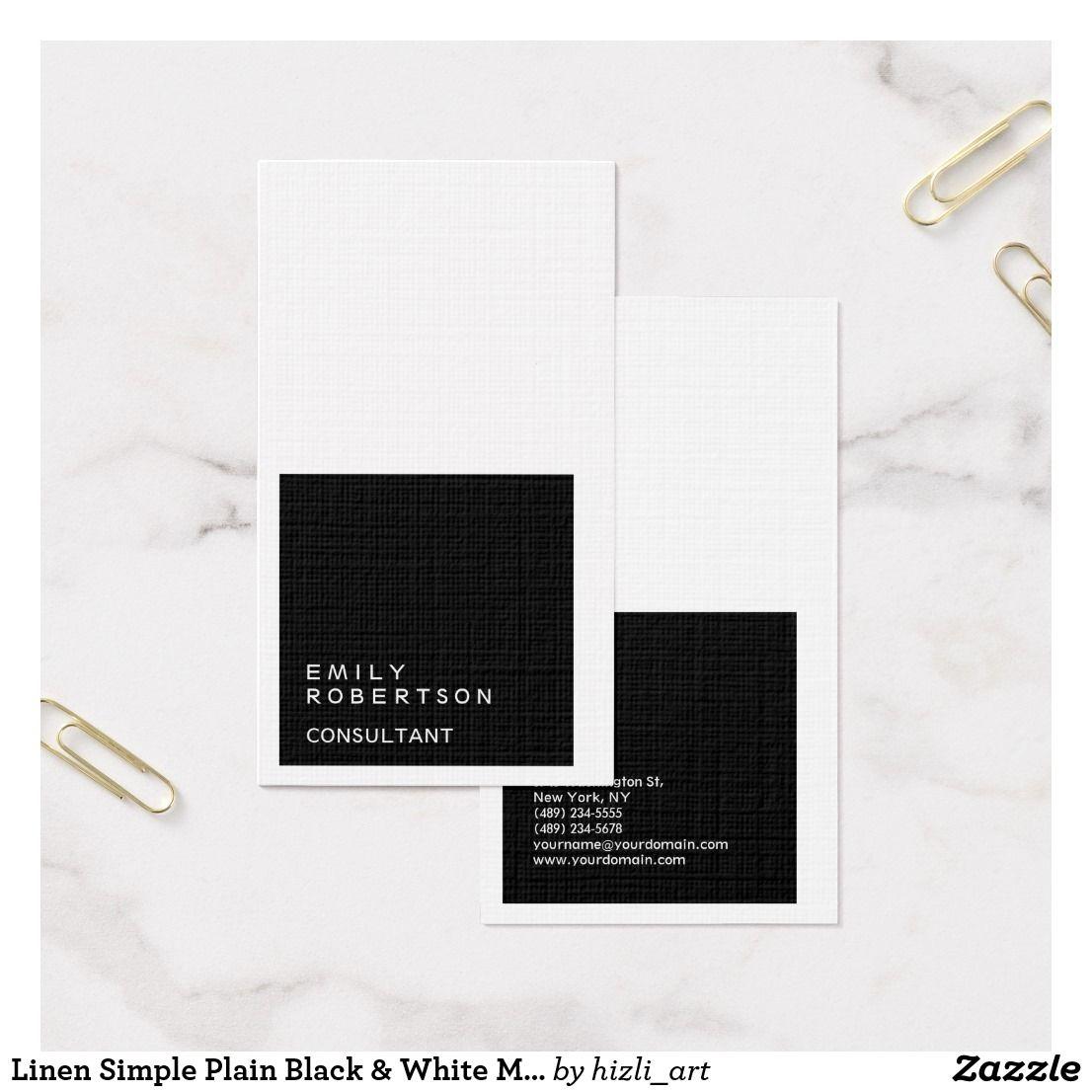 Linen Simple Plain Black & White Modern Minimalist Business Card ...