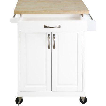 Mainstays Kitchen Island Cart With Drawer And Storage Shelves Natural Walmart Com Kitchen Island Cart Kitchen Furniture Storage