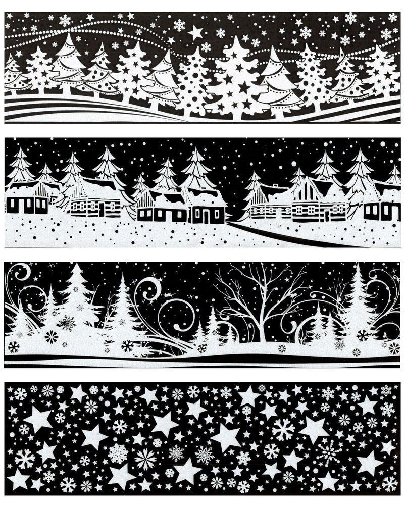Fensterbild AUSWAHL Schneeflocken Sterne Dorf Wald Fenstersticker