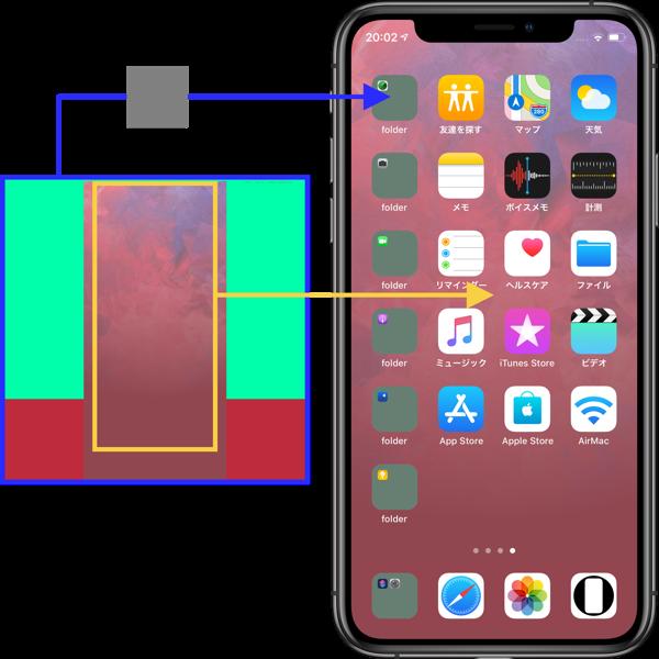 ドックを隠してフォルダをカラーに。 スモーキーな背景のX系iPhone用。 Wallpapers to hide