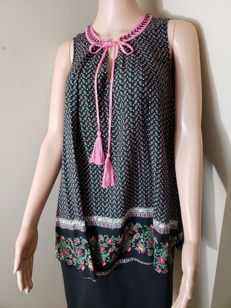 ff9ecb2ecedb1 UMGEE Size Small Black Pink Green Floral Tunic Top Short Shirt Dress w Tassels