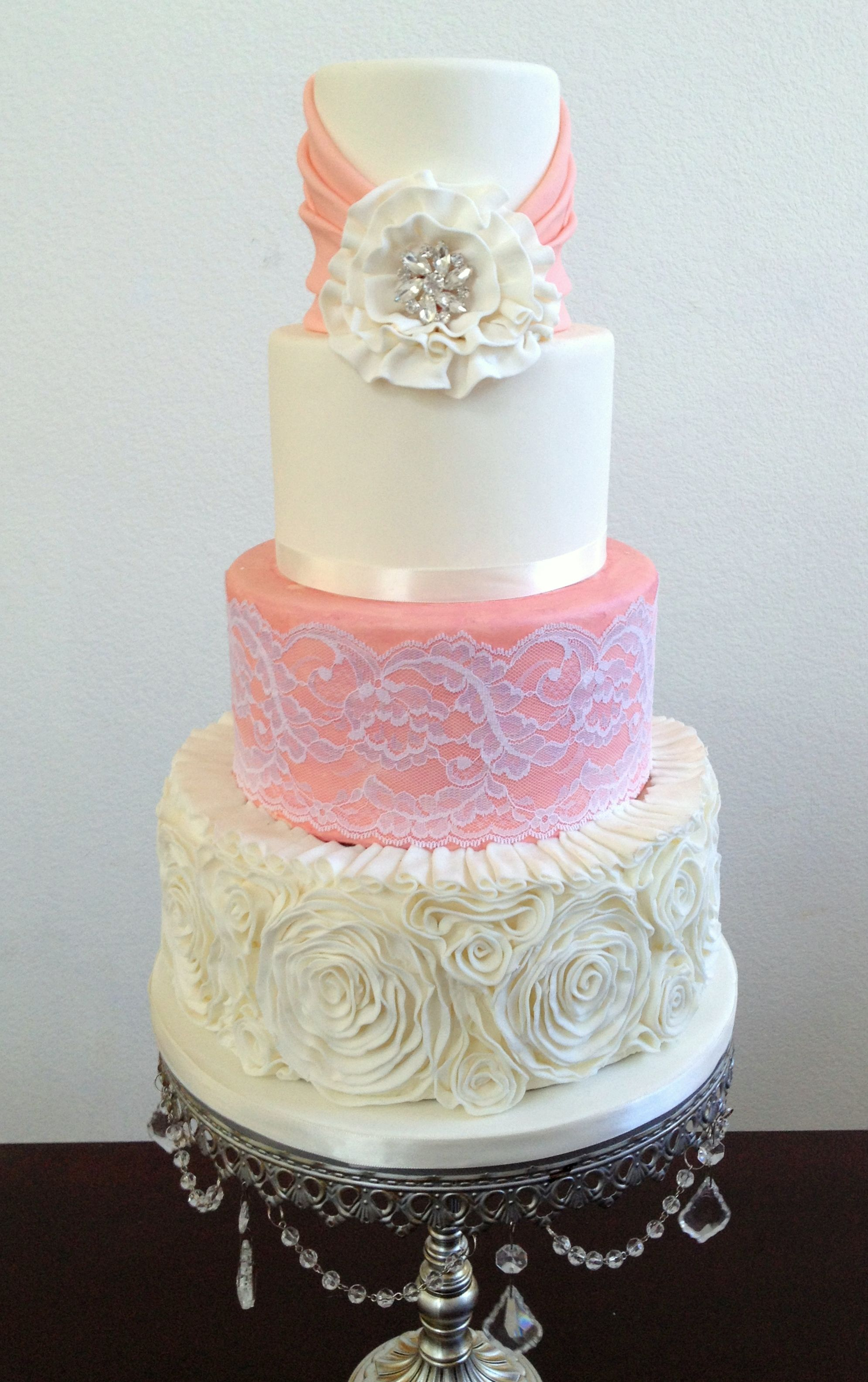Country glamour ruffle rosette and lace wedding cake. | cakes ...