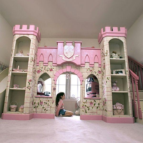Hochbett selber bauen mädchen  schloss design vom mädchenbett auf zwei etagen | Mädchen Träume ...