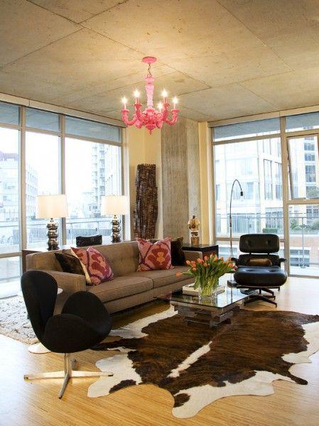Dark Cowhide Floor Covering Rugs In Living Room Modern Classic Living Room Living Room Loft
