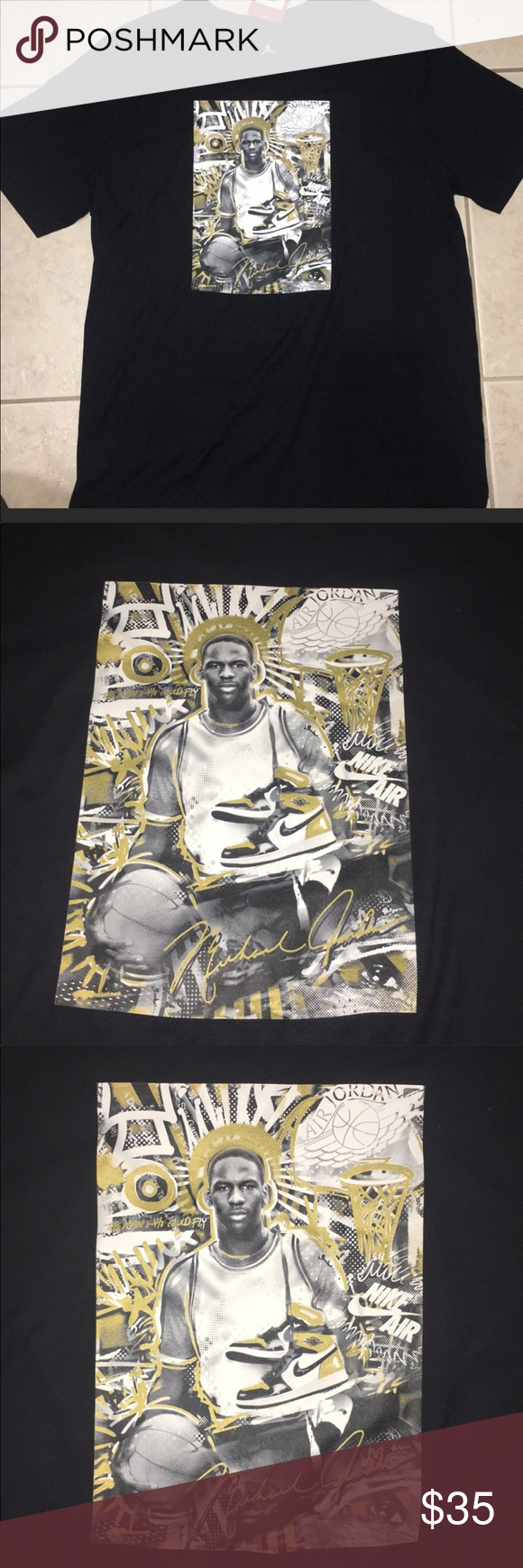 5366917dfb6781 Jordan Retro 1 Gold Toe Black and Gold T Shirt Jordan Retro 1 Gold Toe  Exclusive Nike Air Shirt Brand New With Tags Size  Small Hard to find Jordan  1 Shirt ...