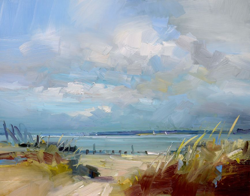 Cloudy with sunny spells west wittering sussex oil on