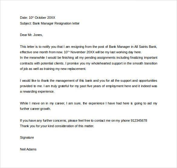 formal resignation letter bank manager all official details - formal resignation letter