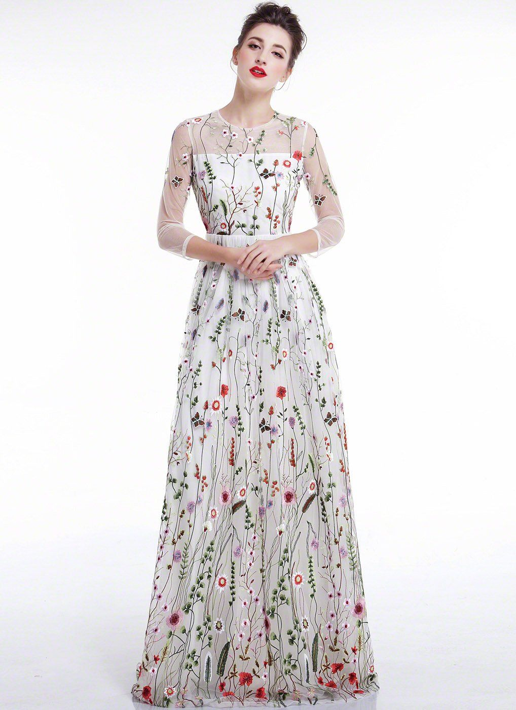 948ee90b69 White Tulle Colorful Floral Embroidery Whimsical Maxi Evening Dress with  Sheer 3 4 Sleeves