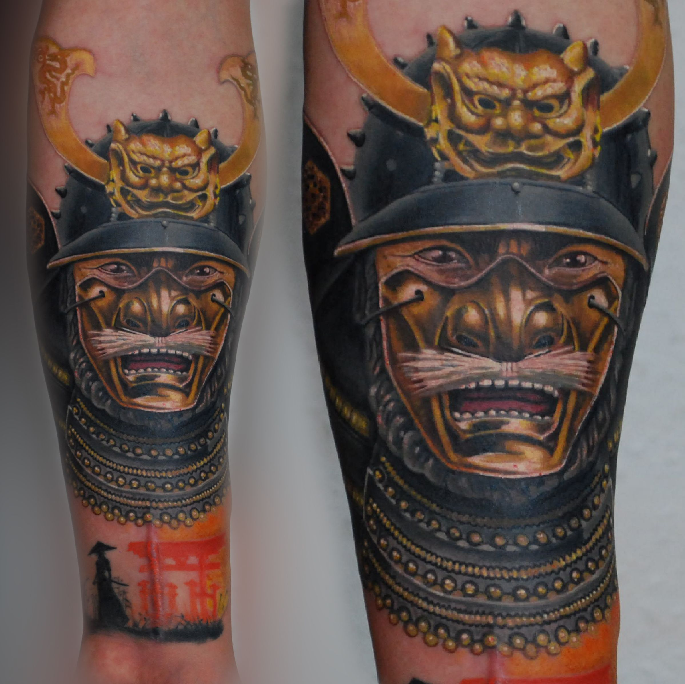 samurai mask oriental colour tattoo full sleeve tattoos. Black Bedroom Furniture Sets. Home Design Ideas
