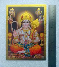 "Lord Hanumana, Brahma Vishnu Shiva Narad - POSTER (Golden Foil Effect) - 5""x7"""
