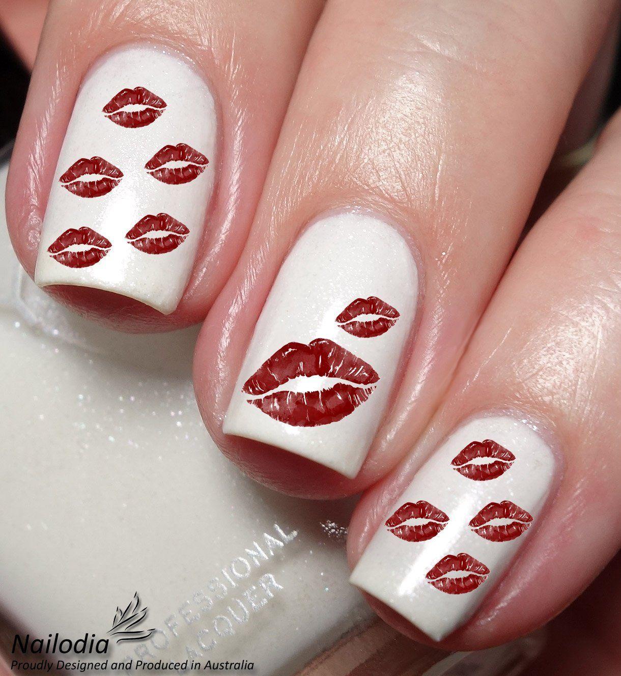 Kiss nail art decals by Nailodia on Etsy Kiss nails