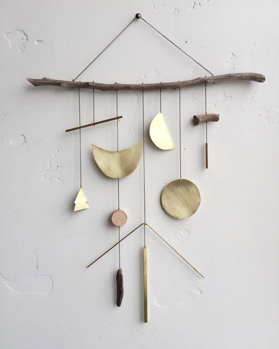 Tenture murale géométrique de laiton + mobile géométrique lune / / « Lucent » / / sur mesure